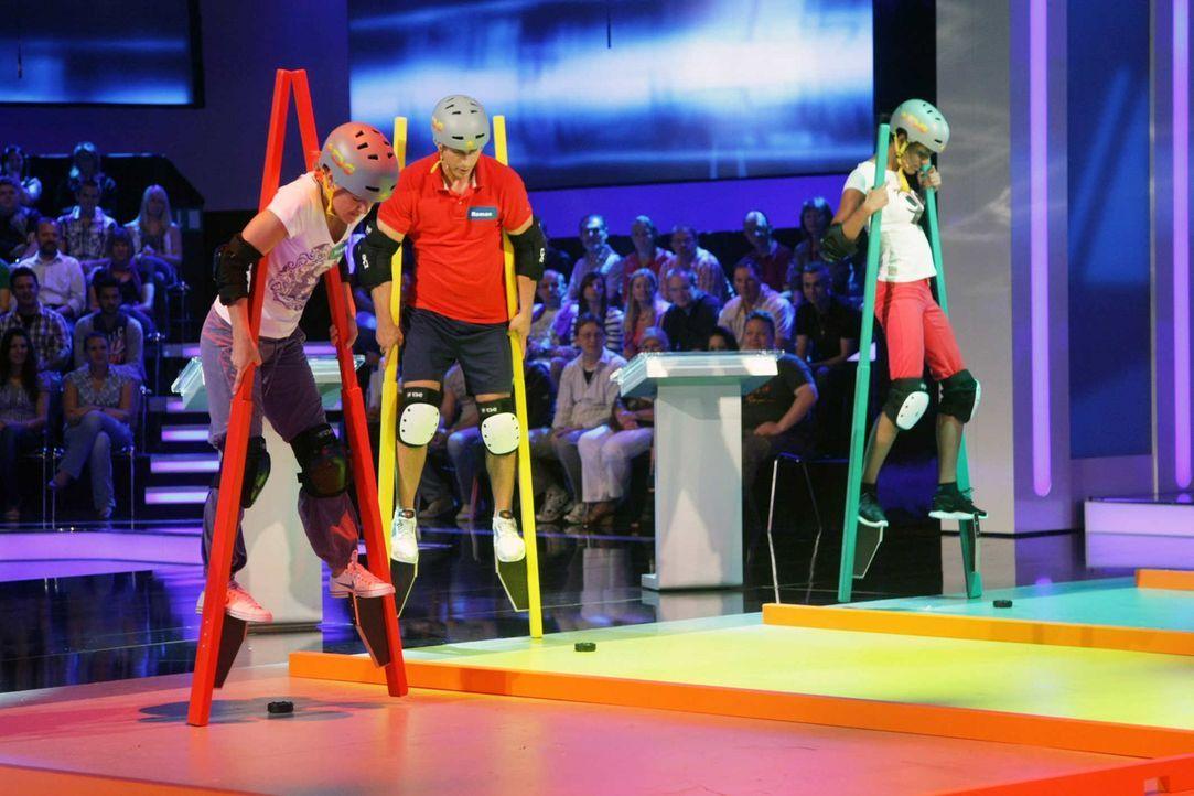 """""""17 Meter"""" - eine Show in der neben Ratespaß vor allem Sportlichkeit, Geschicklichkeit und Nervenstärke gefragt sind ... - Bildquelle: ProSieben"""