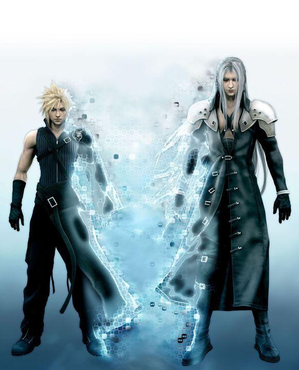 Nachdem Cloud (l.) den Bösewicht Sephiroth (r.) besiegt hatte, wurde es sehr friedlich auf dem Planeten Gaia. Doch nun bedroht eine gefährliche Kr... - Bildquelle: 2005 Square Enix Co., LTD. All Rights Reserved.