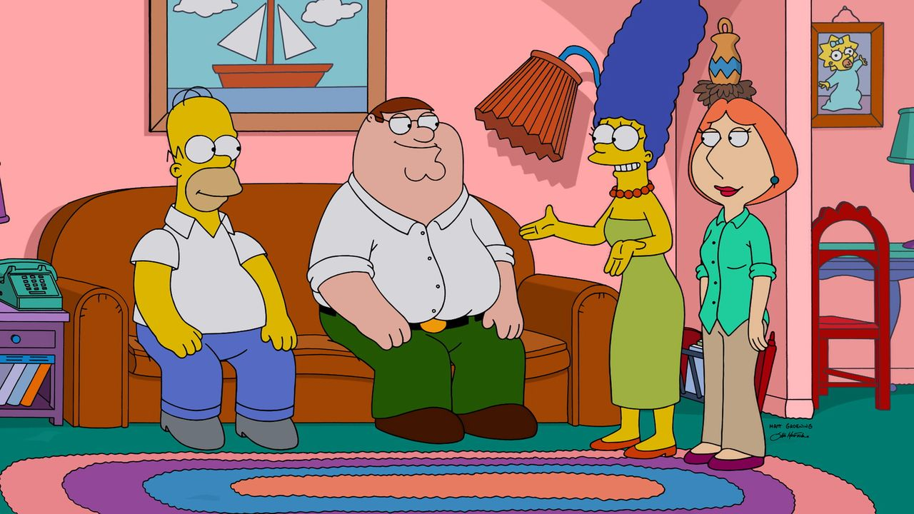 Endet die Zusammenkunft zwischen Homer (l.), Peter (2.v.l.), Marge (2.v.r.) und Lois (r.) im Streit, oder vertragen sich die Eheleute? - Bildquelle: 2015-2016 Fox and its related entities. All rights reserved.