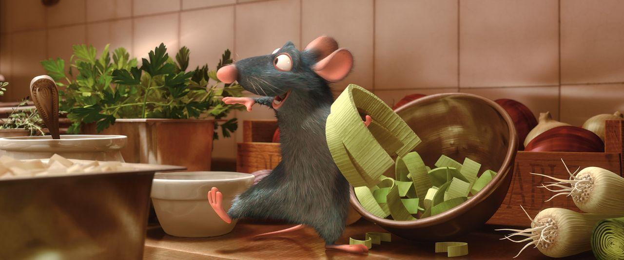 Nachdem Remy beobachtet hat, wie Linguini eine Suppe mit Wasser und anderen Zutaten stümperhaft gestreckt hat, greift er ein, denn seine Feinschmec... - Bildquelle: Disney/Pixar.  All rights reserved