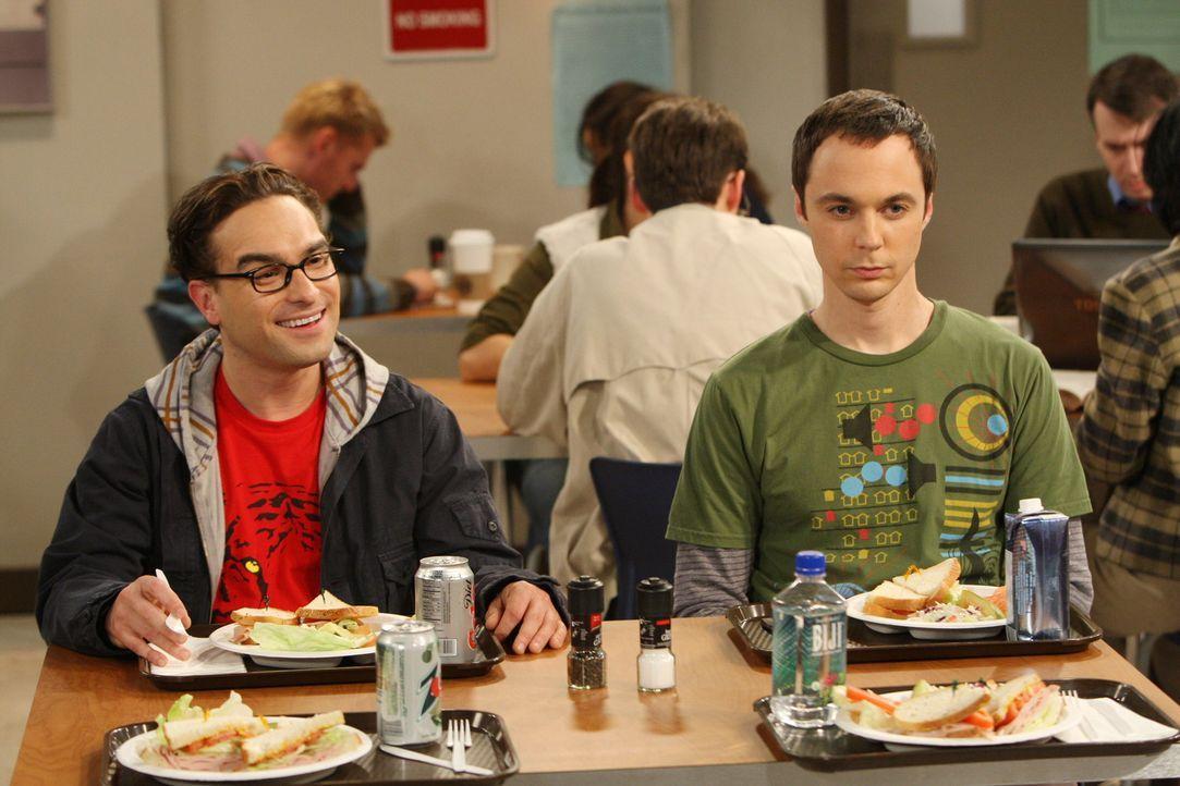 Als Sheldon (Jim Parsons, r.) das gereinigte Kissen nicht akzeptiert, versucht Leonard (Johnny Galecki, l.) ihn mit einer anderen Geschichte abzulen... - Bildquelle: Warner Bros. Television