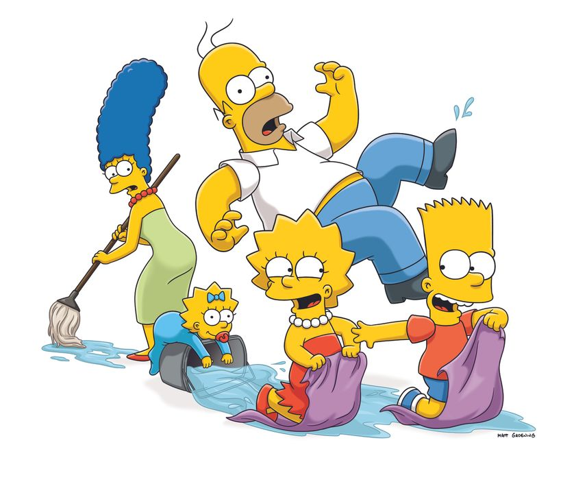 (24. Staffel) - Eine etwas andere Familie: Maggie (2.v.l.), Marge (l.), Homer (M.), Bart (r.) und Lisa Simpson (2.v.r.) ... - Bildquelle: und TM Twentieth Century Fox Film Corporation - Alle Rechte vorbehalten