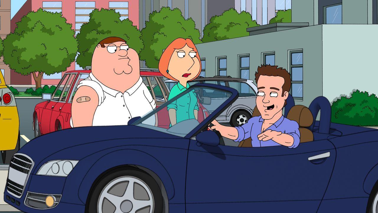 Peter (l.) und Lois (M.) begegnen auf der Straße zufällig Ryan Reynolds (r.) ... - Bildquelle: 2011 Twentieth Century Fox Film Corporation. All rights reserved.