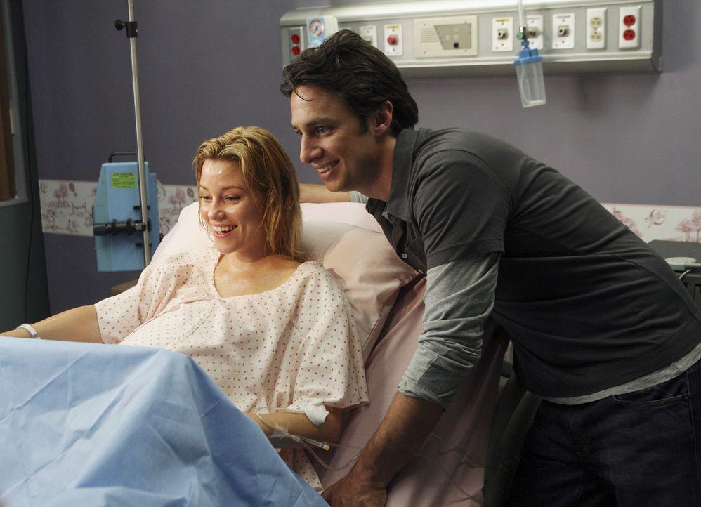 Sie haben sich für das Kind entschieden und gleich ist es soweit: J.D. (Zach Braff, r.) und Kim (Elizabeth Banks, l.) warten auf die Geburt ihres S... - Bildquelle: Touchstone Television