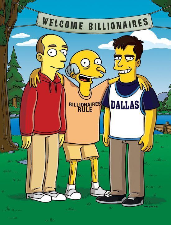 Mr. Burns (M.) gewinnt bei einem Pokerspiel das Basketball-Team Austin Celtics. Nachdem er den schrillen Dallas Mavericks-Besitzer Mark Cuban (r.) e... - Bildquelle: und TM Twentieth Century Fox Film Corporation - Alle Rechte vorbehalten