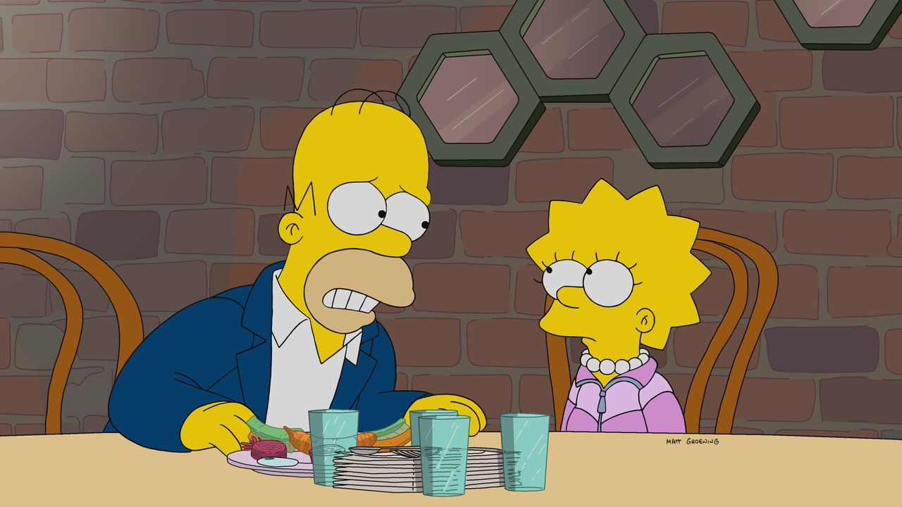 Homer (l.); Lisa (r.) - Bildquelle: 2019-2020 Twentieth Century Fox Film Corporation.  All rights reserved.