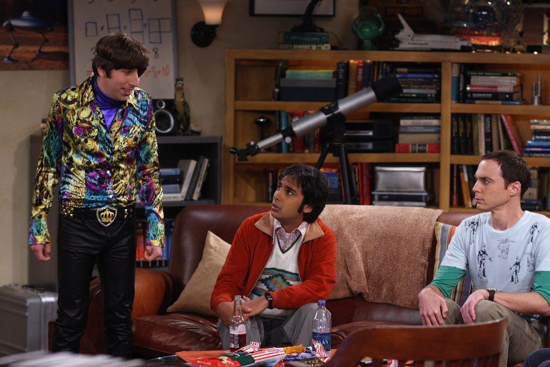 """Während Sheldon (Jim Parsons, r.) und Raj (Kunal Nayyar, M.) eine erschwerte Version von """"Schere-Stein-Papier"""" spielen, hat Howard (Simon Helberg,... - Bildquelle: Warner Bros. Television"""