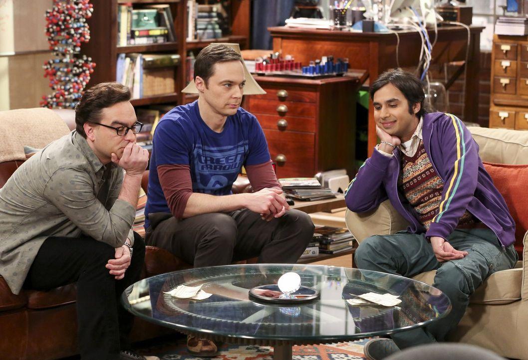 Während Leonard (Johnny Galecki, l.) und Raj (Kunal Nayyar, r.) den Atem anhalten müssen, hat Sheldon (Jim Parsons, M.) seinen ersten richtigen Stre... - Bildquelle: 2016 Warner Brothers