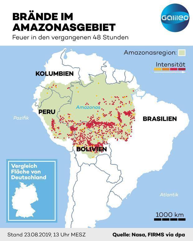 Karte: Diese Regionen in Südamerika sind von den Feuern im Regenwald betroffen.