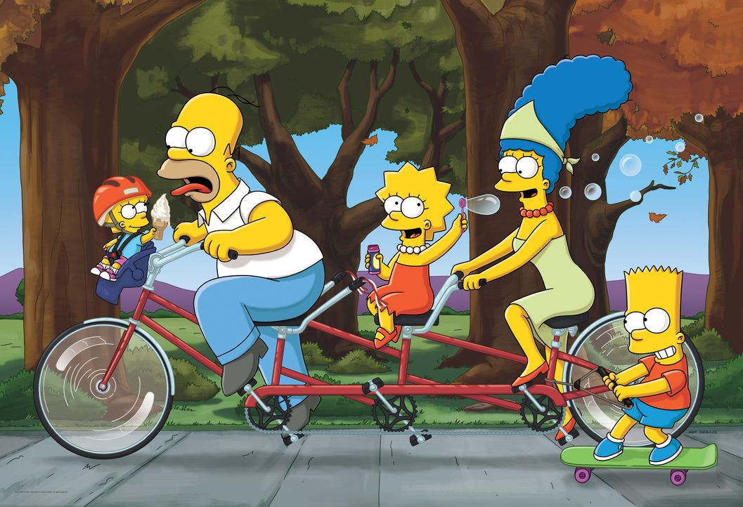 (26. Staffel) - Die Simpsons sind eine nicht alltägliche Familie: Maggie (l.), Marge (2.v.r.), Lisa (M.), Homer (2.v.l.) und Bart (r.) ... - Bildquelle: 2014 Fox and its related entities. All rights reserved
