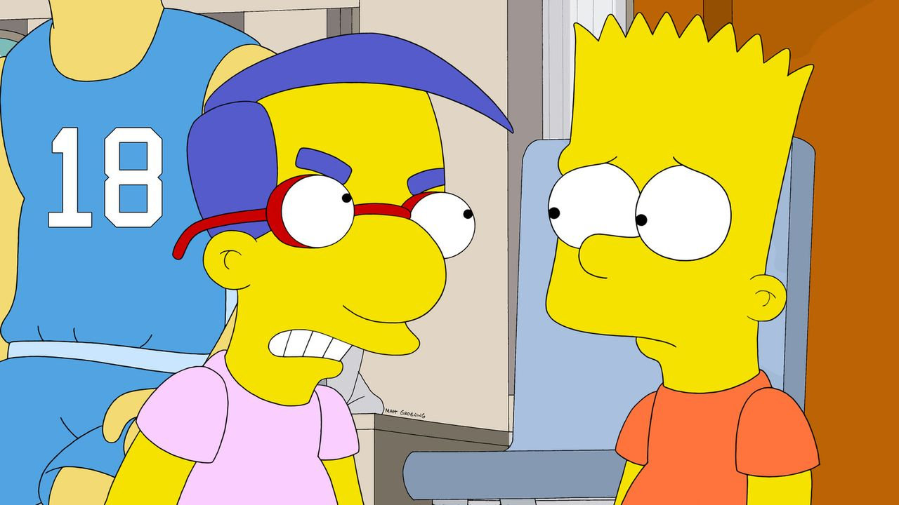 Als Milhouse (l.) erfährt, was Bart (r.) ihm angetan hat, ist er außer sich vor Wut ... - Bildquelle: 2014 Twentieth Century Fox Film Corporation. All rights reserved.