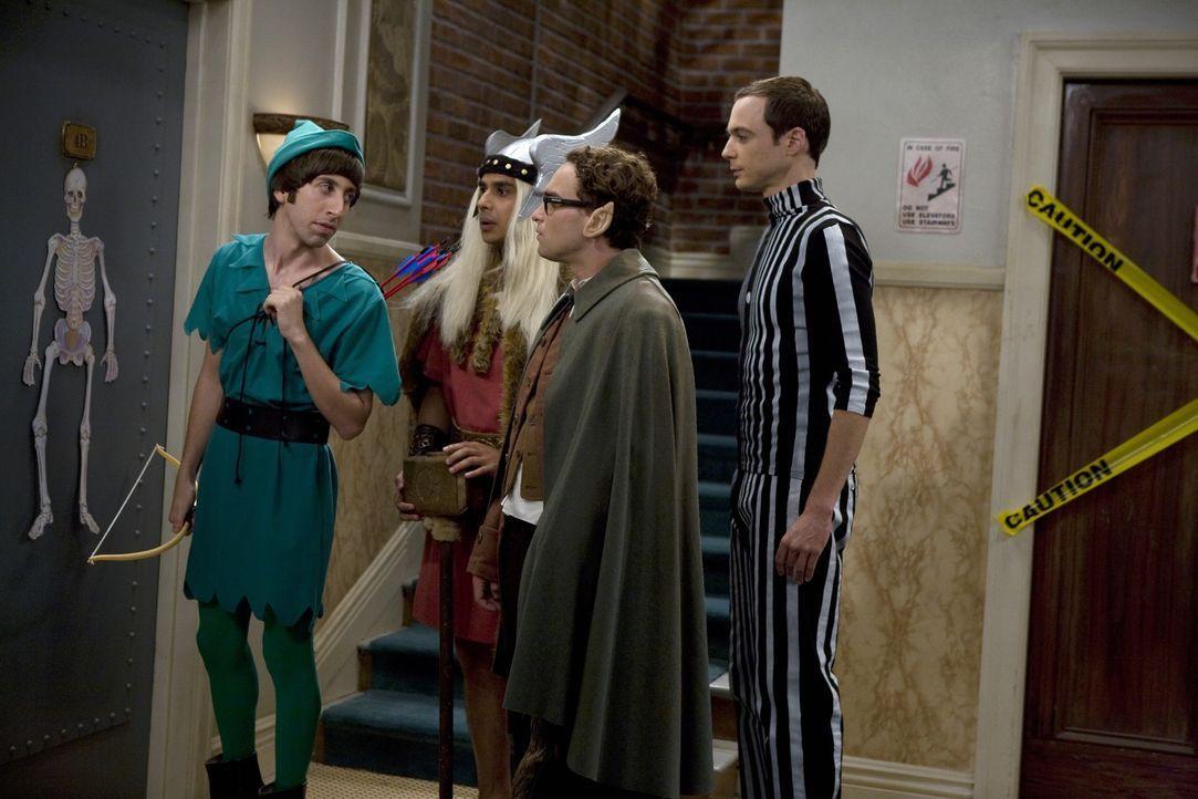 Penny lädt die vier Physiker Leonard (Johnny Galecki, 2.v.r.), Sheldon (Jim Parsons, r.), Howard (Simon Helberg, l.) und Raj (Kunal Nayyar, 2.v.l.)... - Bildquelle: Warner Bros. Television