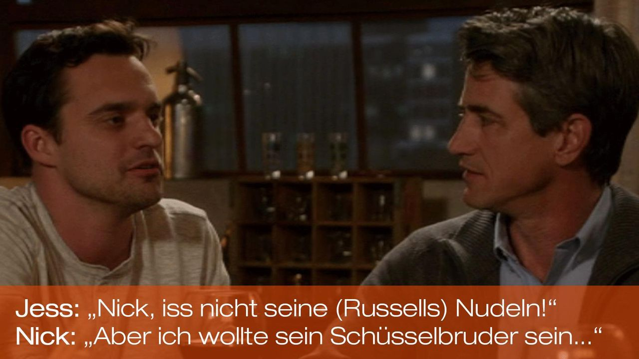 New Girl - Zitate - Staffel 1 Folge 20 - Nick (Jake Johnson), Russell (Dermot Mulroney) 1600 x 900 - Bildquelle: 20th Century Fox