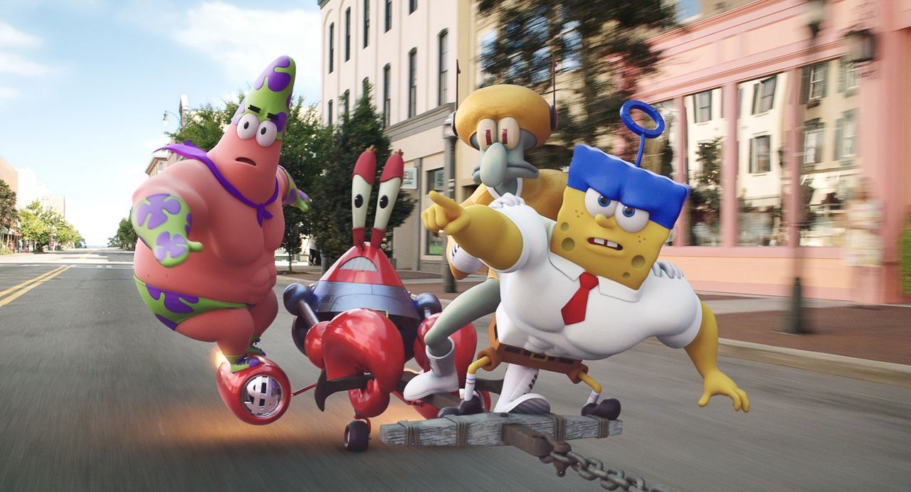 Gelingt es dem schwammigen Team, (v.l.n.r) Patrick, Mr. Krabs, Thaddäus und Spongebob, das geklaute Geheimrezept für die Krabbenburger endlich zurüc... - Bildquelle: (2016) Paramount Pictures and Viacom International Inc. All Rights Reserved. SPONGEBOB SQUAREPANTS is the trademark of Viacom International Inc.