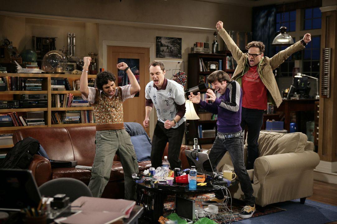 (v.l.n.r.) Rajesh Koothrappali (Kunal Nayyar); Sheldon Cooper (Jim Parsons); Howard Wolowitz (Simon Helberg); Leonard Hofstadter (Johnny Galecki) - Bildquelle: Warner Bros. Television