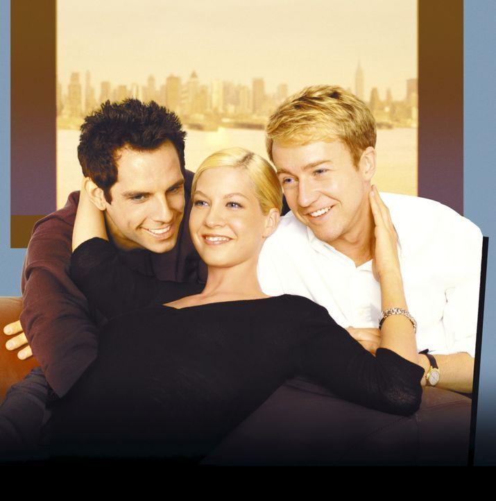 Schon bald zieht das Trio, Brian (Edward Norton, r.), Jake (Ben Stiller, l.) und Anna (Jenna Elfman, M.), wie in alten Zeiten gemeinsam um die Häus... - Bildquelle: SPYGLASS ENTERTAINMENT GROUP, LP
