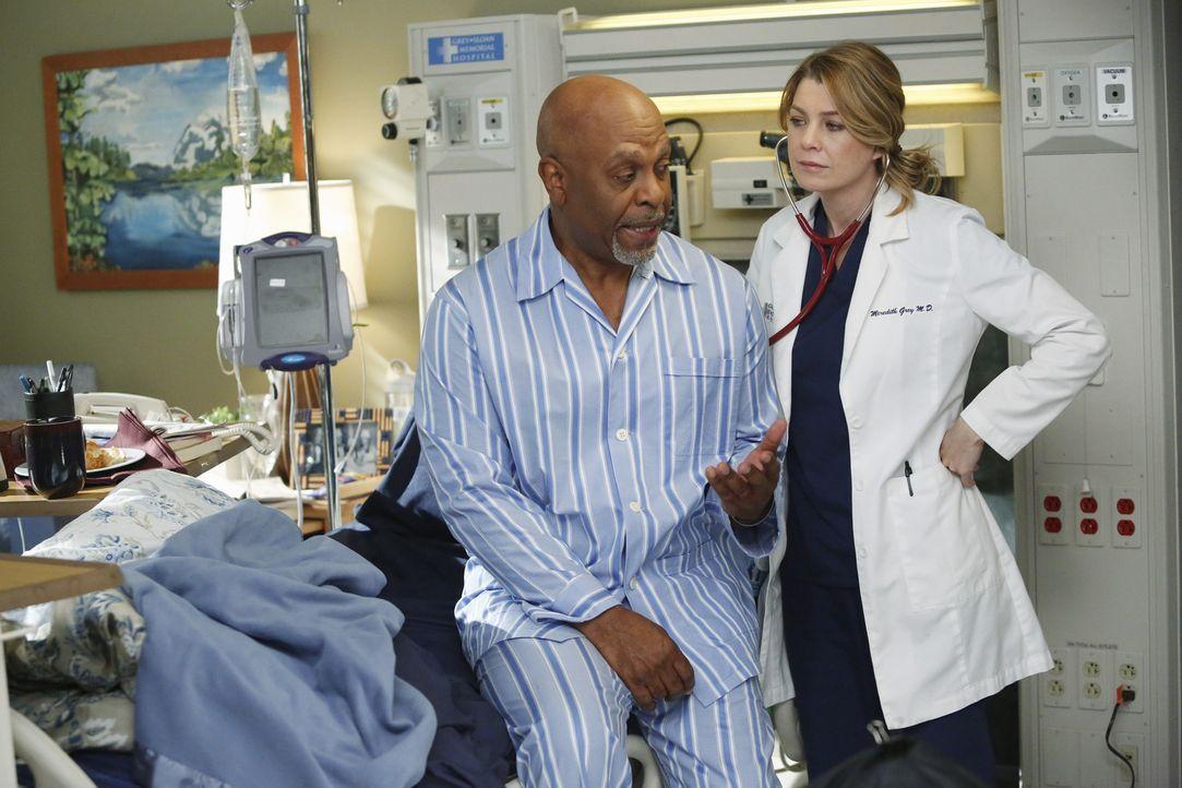 Dr. Webbers (James Pickens Jr., l.) Gesundheitszustand lässt zu wünschen übrig. Nicht nur Meredith (Ellen Pompeo, r.) sorgt sich um den Chefarzt... - Bildquelle: ABC Studios