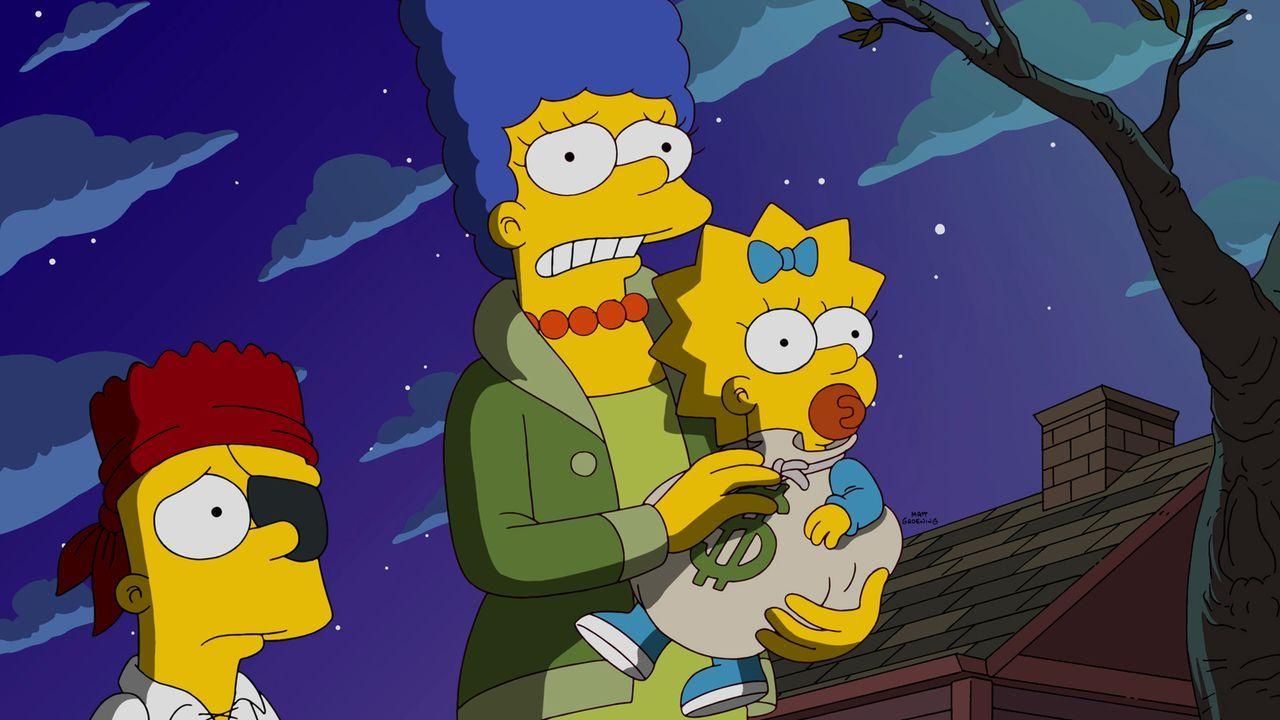 Auf Marge (M.), Maggie (r.) und Bart (l.) wartet ein ganz besonderes Halloween-Fest ... - Bildquelle: 2015 Fox and its related entities.  All rights reserved.