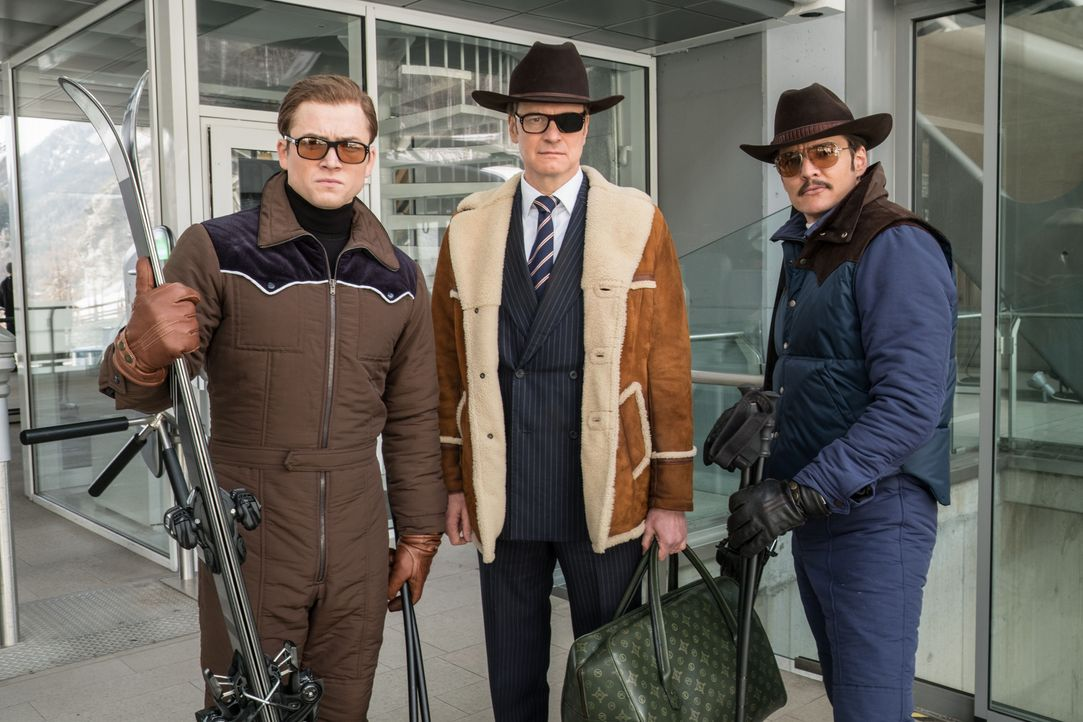 (v.l.n.r.) Eggsy (Taron Egerton); Harry Hart (Colin Firth); Whiskey (Pedro Pascal) - Bildquelle: Giles Keyte 2017 Twentieth Century Fox Film Corporation. All rights reserved. / Giles Keyte