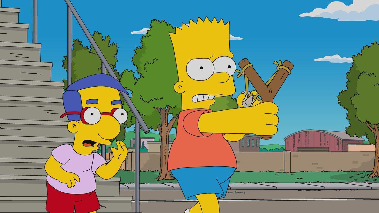 Milhouse (l.) ist geschockt, als er erfährt, welche Folgen Barts (r.) Rache für einen fiesen Streit von Rektor Skinner hat ... - Bildquelle: 2017-2018 Fox and its related entities.  All rights reserved.