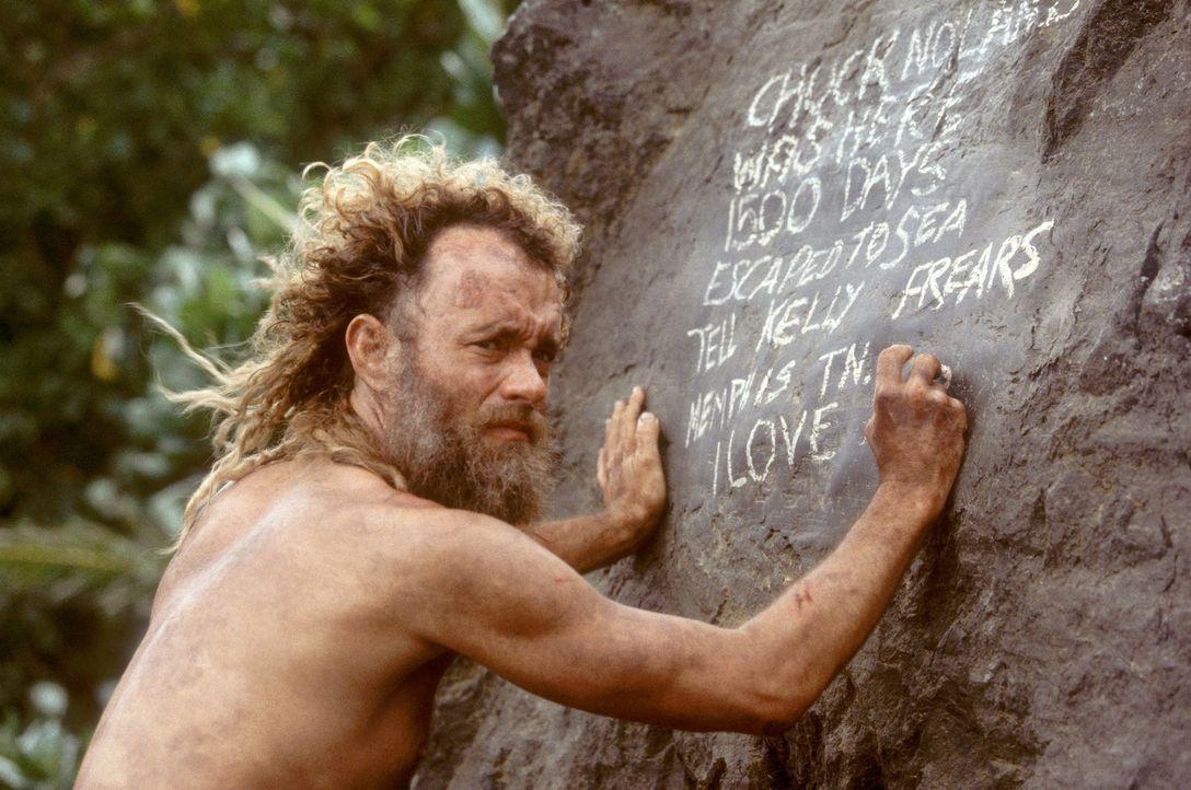 Nach einem Flugzeugabsturz kann sich Chuck (Tom Hanks) als einziger Überlebender auf eine einsame Insel retten. Gefangen im Paradies, kämpft er vier... - Bildquelle: Francois Duhamel 2001 Twentieth Century Fox Film Corporation and Dreamworks LLC. All rights reserved