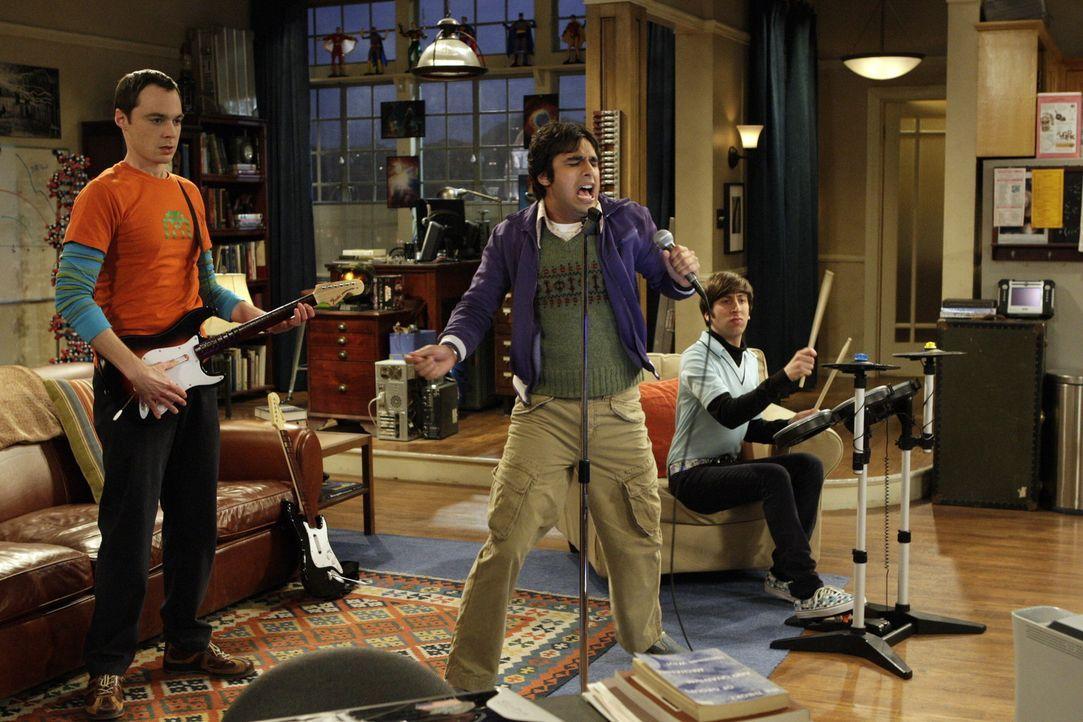 Haben viel Spaß miteinander: Sheldon (Jim Parsons, l.), Rajesh (Kunal Nayyar, M.) und Howard (Simon Helberg, r.) ... - Bildquelle: Warner Bros. Television