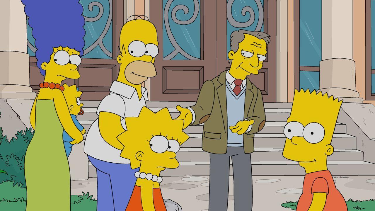 (v.l.n.r.) Marge, Maggie, Homer; Lisa; Dr. Lund; Bart - Bildquelle: 2019-2020 Twentieth Century Fox Film Corporation.  All rights reserved.