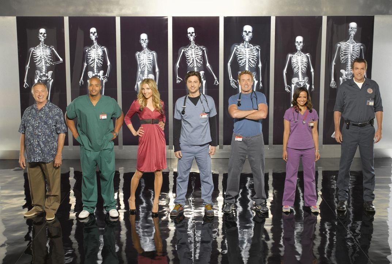 (8. Staffel) - Die Belegschaft des Sacred Heart Hospitals muss täglich mit neuen Überraschungen rechnen: (v.l.n.r.) Dr. Bob Kelso (Ken Jenkins), Tur... - Bildquelle: Touchstone Television
