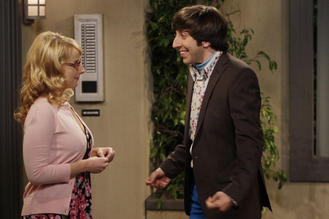 Nachdem er sich eine Woche lang nicht mehr bei Bernadette (Melissa Rauch, l.) gemeldet hat, will diese nichts mehr von ihm wissen. Als Howard (Simon... - Bildquelle: Warner Bros. Television
