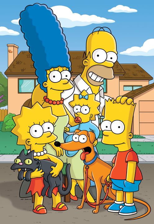 (25. Staffel) - Eine ganz besondere Familie: Maggie (M.), Marge (2.v.l.), Homer (2.v.r.), Bart (r.) und Lisa Simpson (r.) ... - Bildquelle: 2014 Twentieth Century Fox Film Corporation. All rights reserved.