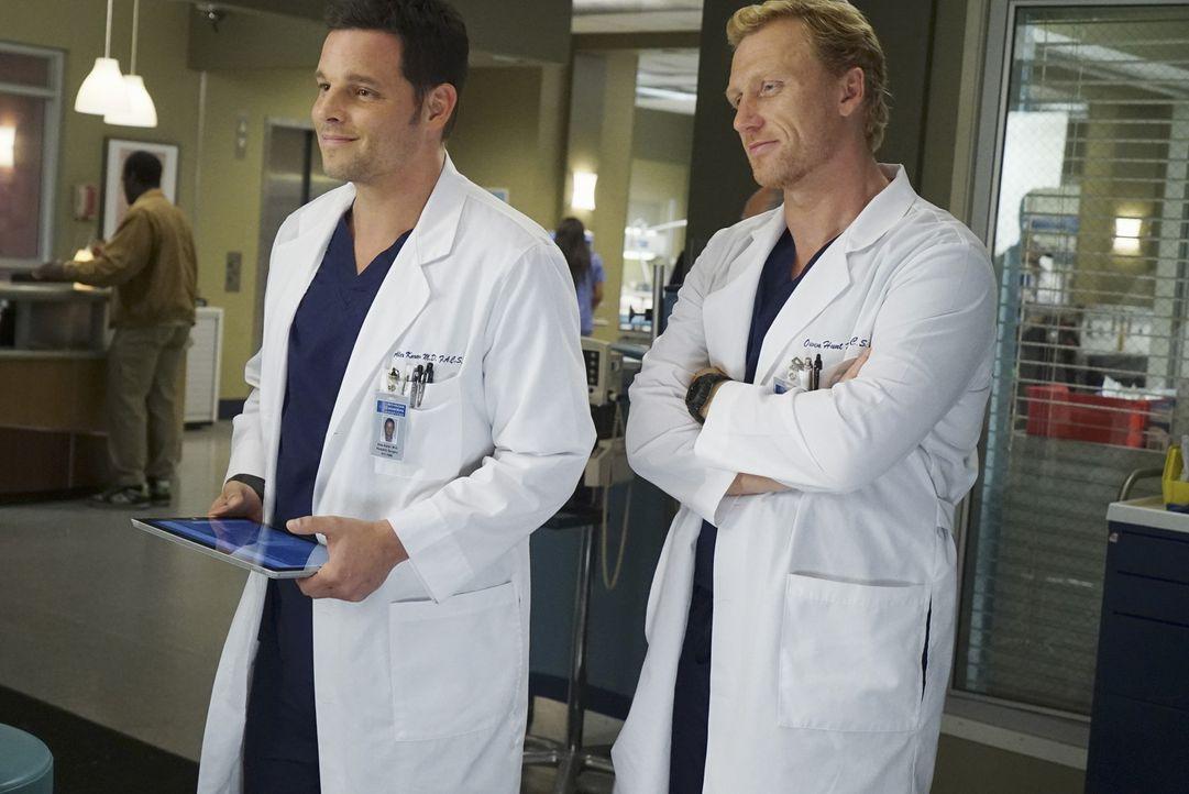 Während Jackson seiner Ehe mit April wenig Chancen gibt, kämpfen Owen (Kevin McKidd, r.) und Alex (Justin Chambers, l.) im Krankenhaus um das Leben... - Bildquelle: Richard Cartwright ABC Studios
