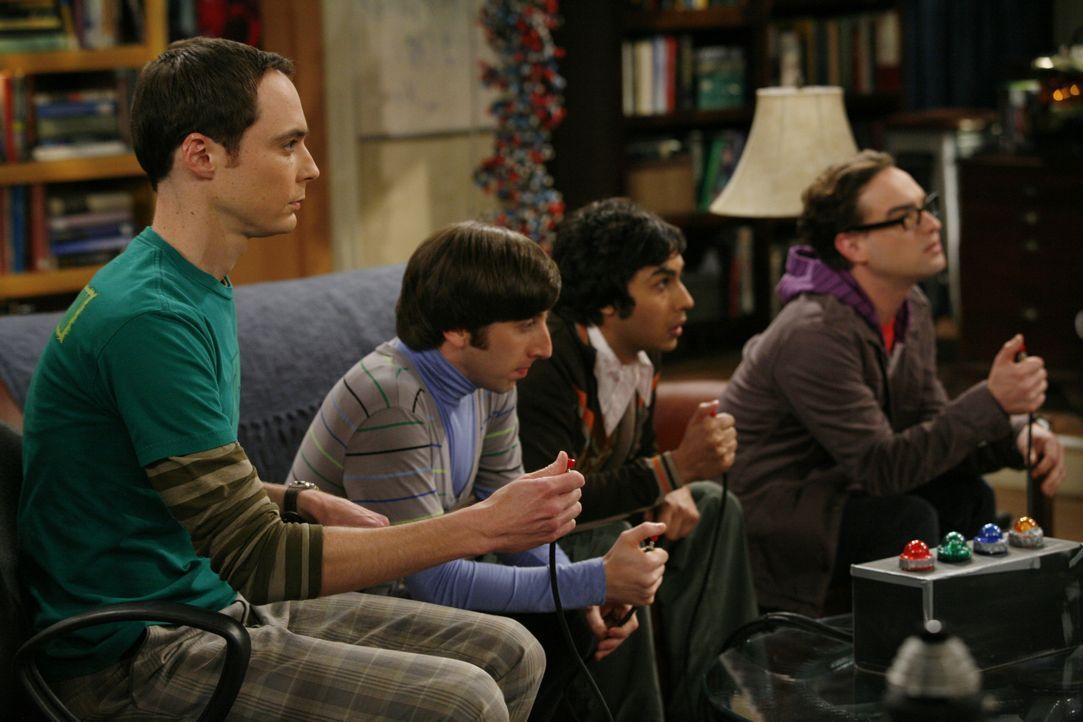 (v.l.n.r.) Sheldon Cooper (Jim Parsons); Howard Wolowitz (Simon Helberg); Rajesh Koothrappali (Kunal Nayyar); Leonard Hofstadter (Johnny Galecki) - Bildquelle: Warner Bros. Television