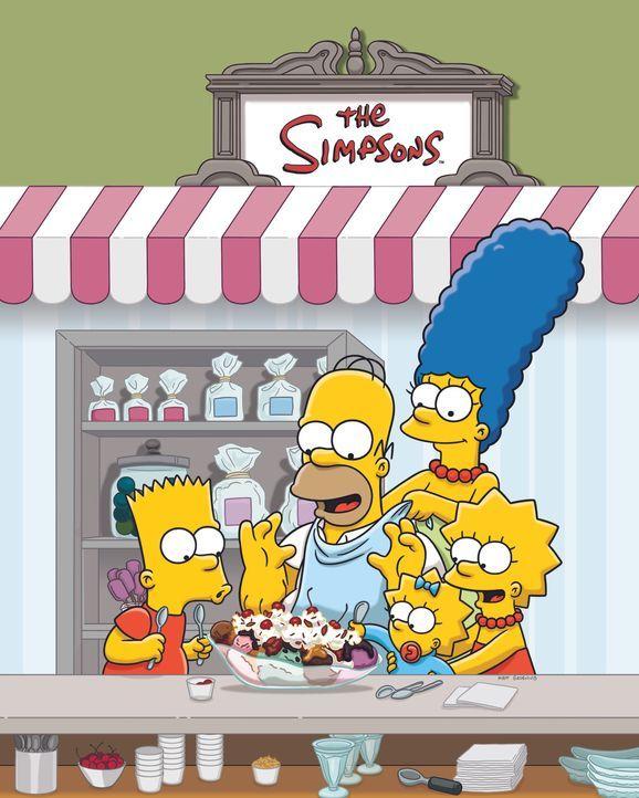 (24. Staffel) - Eine Familie mit ganz besonderem Pfiff: Maggie (M.), Marge (2.v.r.), Homer (2.v.l.), Bart (l.) und Lisa Simpson (r.) ... - Bildquelle: und TM Twentieth Century Fox Film Corporation - Alle Rechte vorbehalten