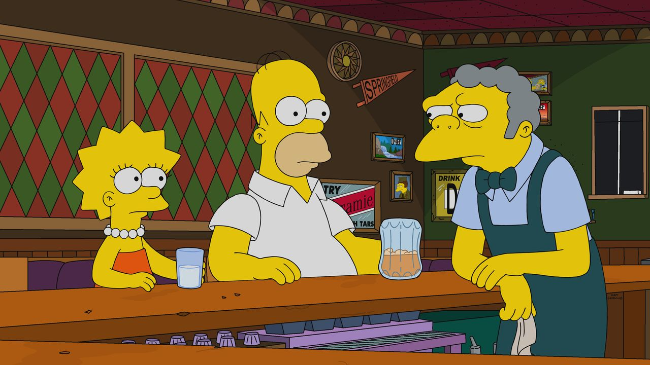 (v.l.n.r.) Lisa; Homer; Moe - Bildquelle: 2020 by Twentieth Century Fox Film Corporation.