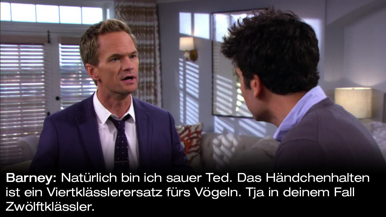 How-I-Met-Your-Mother-Zitate-Staffel-9-17-Barney-haendchenhalten - Bildquelle: 20th Century Fox Film Corporation all rights reserved.