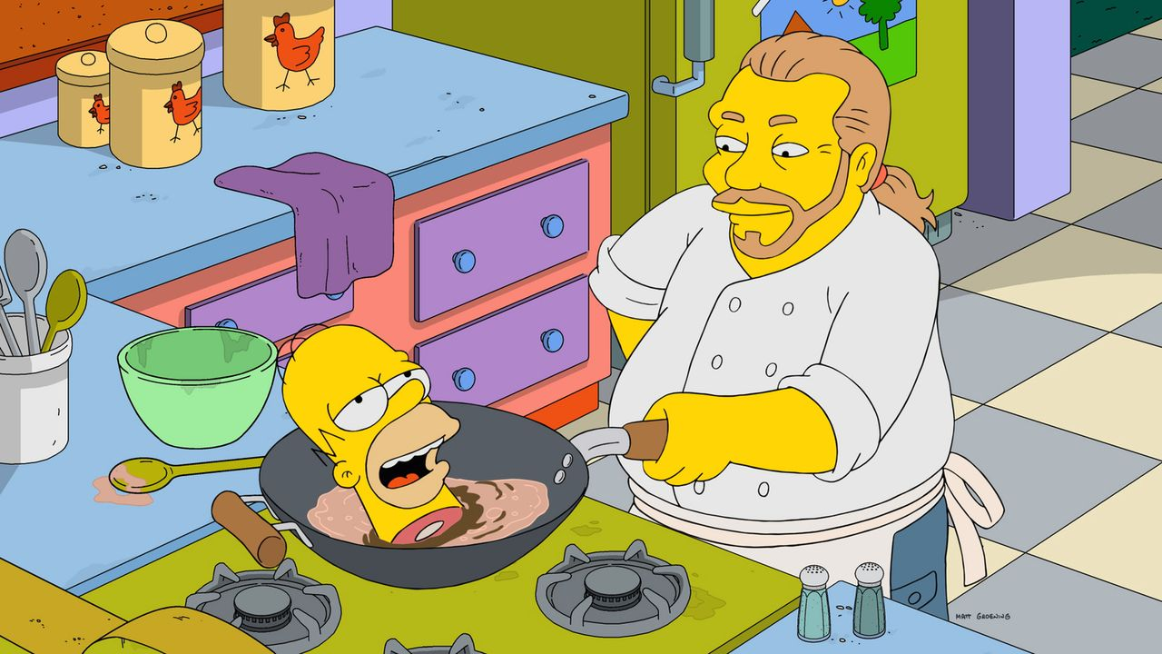 Homer (l.); Mario Batali (r.) - Bildquelle: 2017-2018 Fox and its related entities.  All rights reserved.
