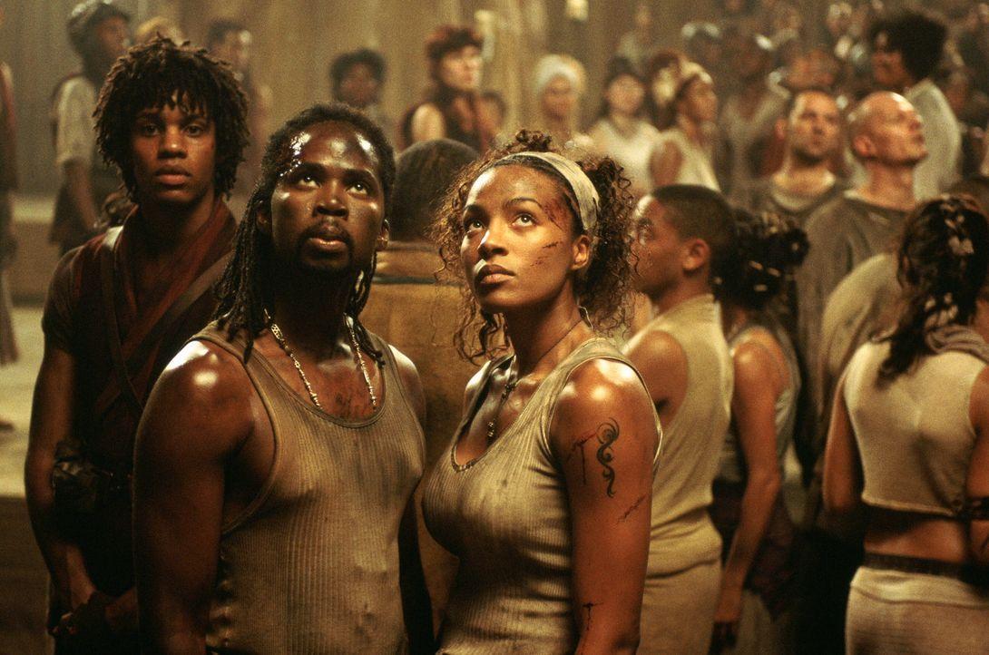 Verzweifelt versuchen die Zion-Soldaten mit Hilfe mutiger Zivilisten wie Zee (Nona Gaye, r.) und Link (Harold Perrineau, l.) die Invasion der Wächt... - Bildquelle: Warner Bros.