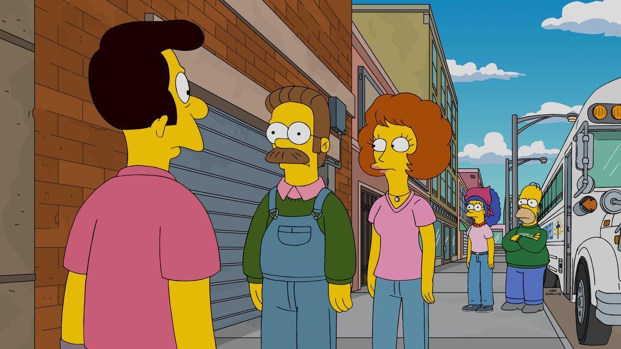 Ned Flanders (2.v.l.) gewinnt einen Ausflug in den Grand Canyon für zwei Familien. Da er diesen von der Kirche gewonnen hat, beschließt Reverend Tim... - Bildquelle: 2015 Fox and its related entities.  All rights reserved.