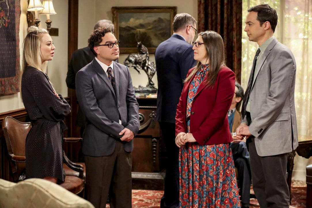 (v.l.n.r.) Penny (Kaley Cuoco); Leonard Hofstadter (Johnny Galecki); Amy Farrah Fowler (Mayim Bialik); Sheldon Cooper (Jim Parsons) - Bildquelle: Michael Yarish 2019 CBS Broadcasting, Inc. All Rights Reserved / Michael Yarish