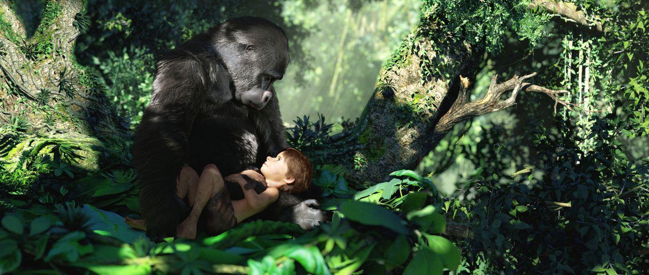 Nachdem seine Familie mit einem Hubschrauber im Dschungel abgestürzt ist, nimmt Affenmama Kala (l.) den kleinen Tarzan (r.) zu sich und zieht ihn wi... - Bildquelle: Constantin Film