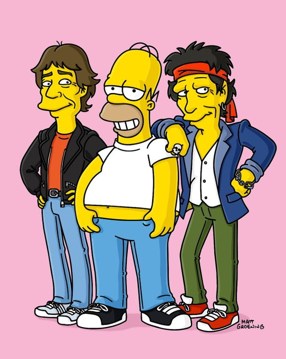 Homer (M.) fühlt sich sichtlich wohl zwischen den Rockstars Keith Richards (r.) und Mick Jagger (l.) ... - Bildquelle: TWENTIETH CENTURY FOX FILM CORPORATION