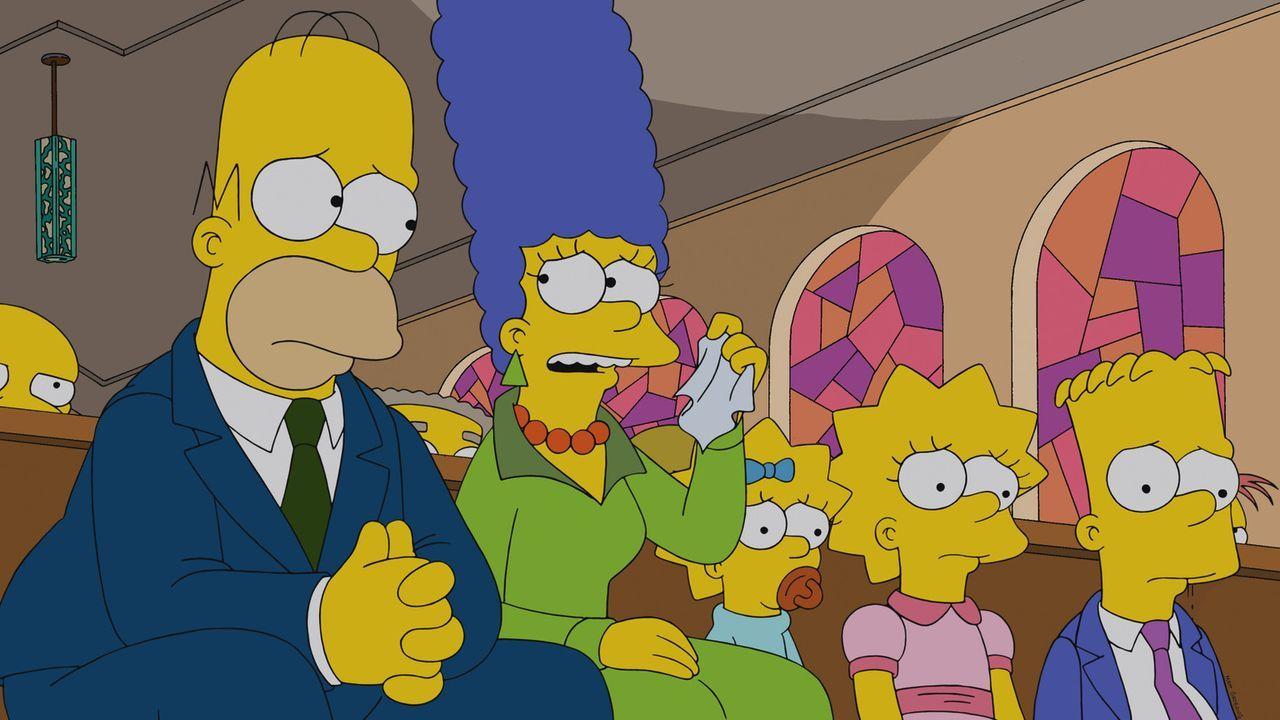Müssen Abschied von Chip Davis nehmen: (v.l.n.r.) Homer, Marge, Maggie, Lisa und Bart ... - Bildquelle: 2013 Twentieth Century Fox Film Corporation. All rights reserved.