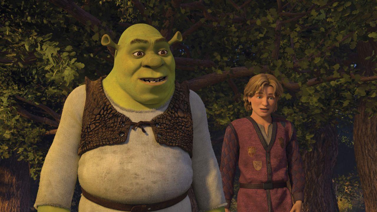 Shrek (l.) greift zum Notfallplan. Prinz Artie (r.) ist seine letzte Hoffnung, um sein geruhsames Leben beibehalten zu können. Doch der junge Mann... - Bildquelle: TM &   2007 Dreamworks Animation LLC