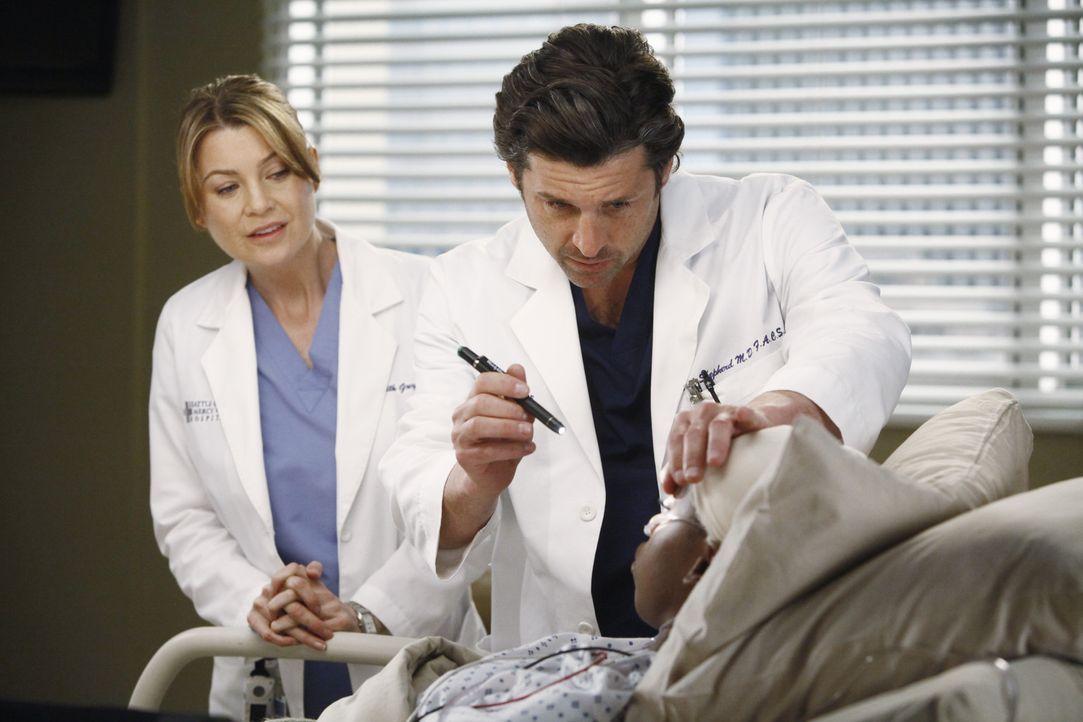 Während Derek (Patrick Dempsey, M.) die zögerliche Meredith (Ellen Pompeo, l.) ermutigt, wieder mit ihm in der Neurologie zu arbeiten, muss sich A... - Bildquelle: ABC Studios