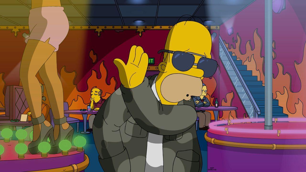 Da Homer (Foto) weiß, wie cool er ist, fällt es ihm nur schwer, sich mit Milhouses Vater Kirk, einem echten Loser, abzugeben ... - Bildquelle: 2016-2017 Fox and its related entities. All rights reserved.