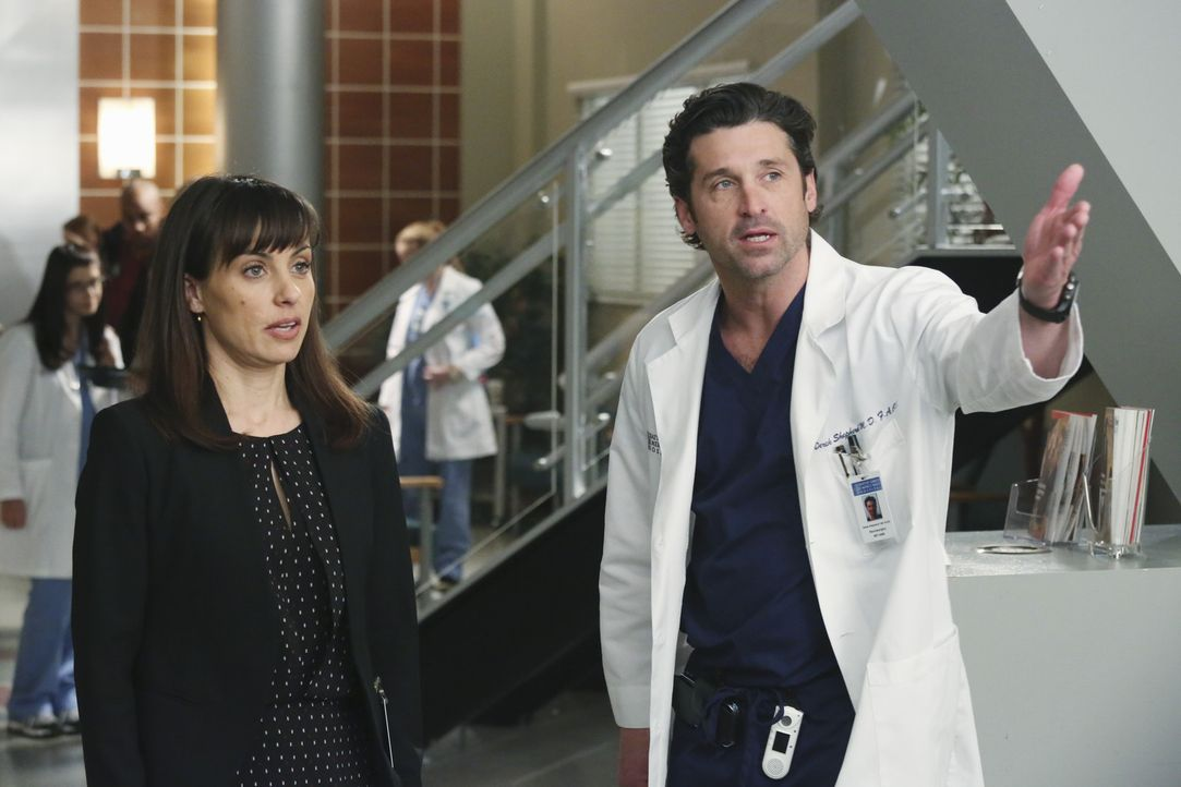 """Dr. Derek Shepherd (Patrick Dempsey, r.) versucht Dr. Alana Cahill (Constance Zimmer, l.) immer wieder zu erklären, dass """"Pegasus"""" kein guter Inves... - Bildquelle: ABC Studios"""