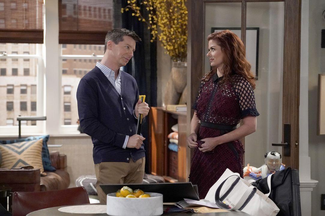 Während Jack (Sean Hayes, l.) um einen Lottogewinn kämpfen muss, muss sich Grace (Debra Messing, r.) mit einem Hotel-Mogul auseinandersetzen ... - Bildquelle: Chris Haston 2017 NBCUniversal Media, LLC / Chris Haston