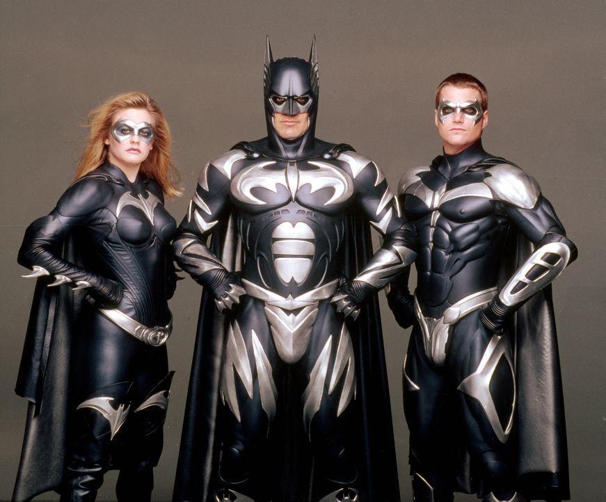 Dieses Mal zu dritt: Batman (George Clooney, Mitte), Batgirl (Alicia SIlverstone, l.) und Robin (Chris O'Donnell) kämpfen gegen das Böse in Gotham C... - Bildquelle: Warner Bros. Pictures
