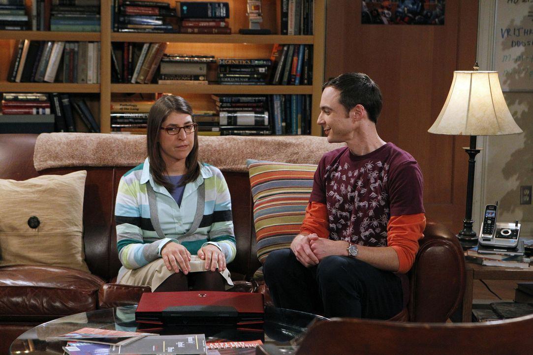 Sheldon (Jim Parsons, r.) wird von Amy (Mayim Bialik, l.) aus der Fassung gebracht, als diese ihn bittet, ihre Mutter kennenzulernen ... - Bildquelle: Warner Brothers
