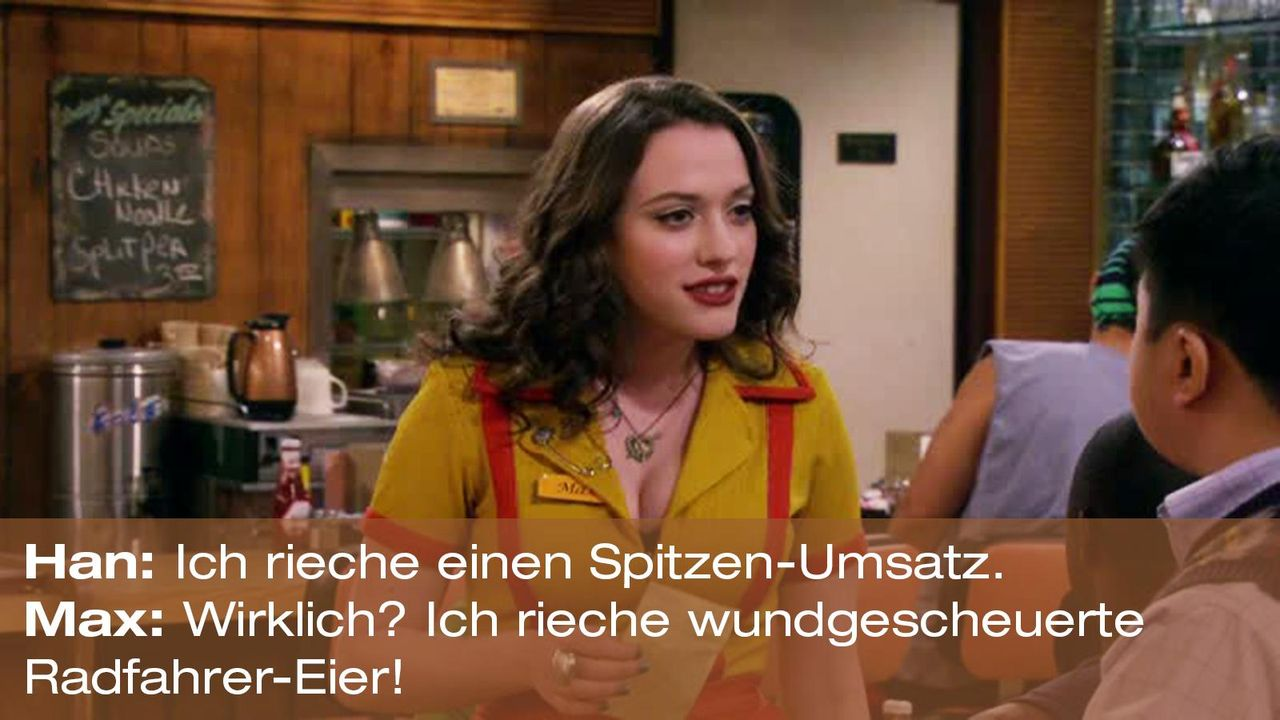 2-broke-girls-zitat-quote-staffel2-episode4-cupcake-wars-max-radfahrer-eier-warnerpng 1600 x 900 - Bildquelle: Warner Brothers Entertainment Inc.